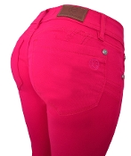 Jackie Guerrido Jeans Cappri Style, Color Fuchsia, Skinny Jeans super comfortable offering the perfect fit on the thighs and hips, lifting your buttocks and embracing your curves.